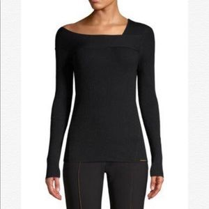 DONNA KARAN NY Ribbed Asymmetric Neck Sweater